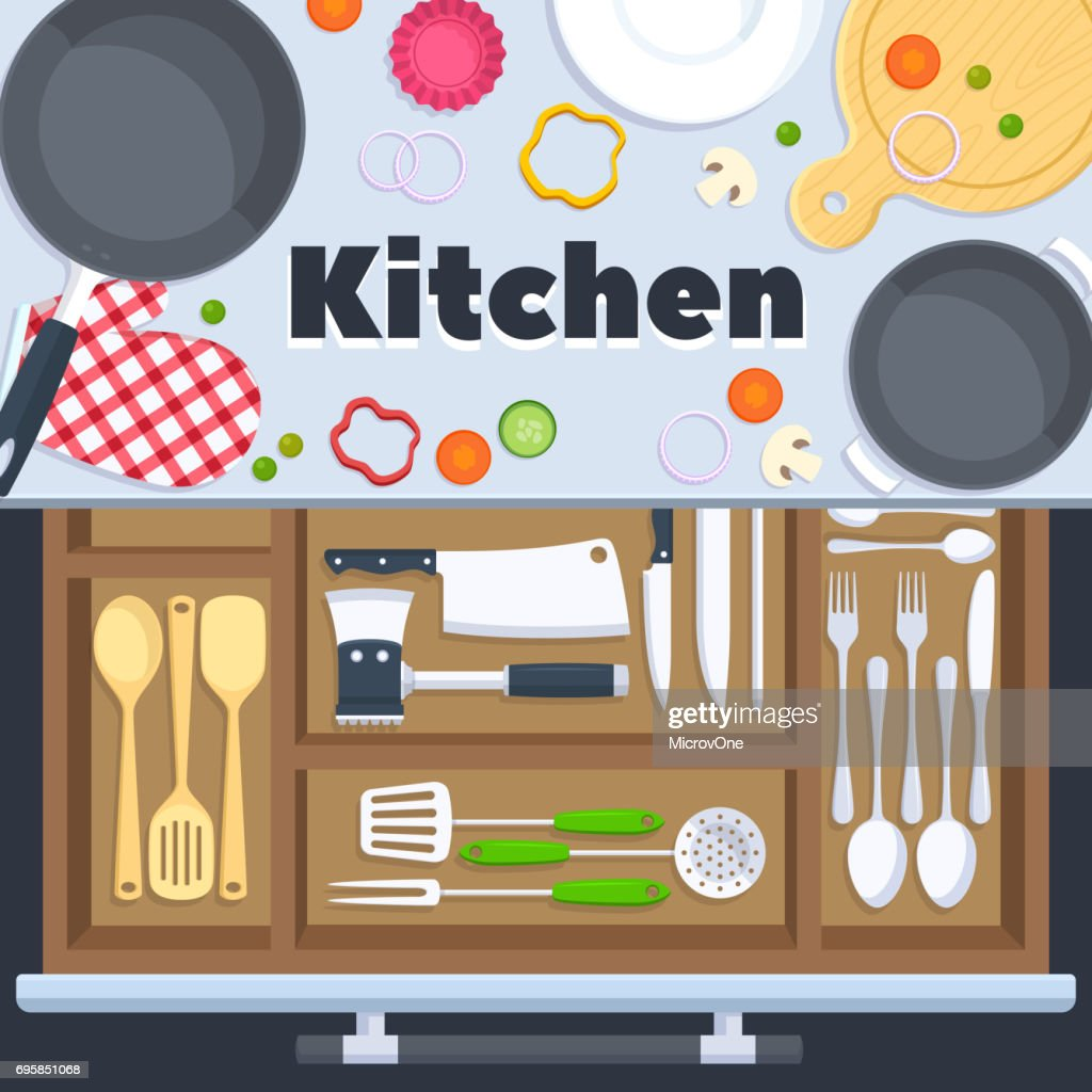 Kitchen design vector background with cooking restaurant equipment
