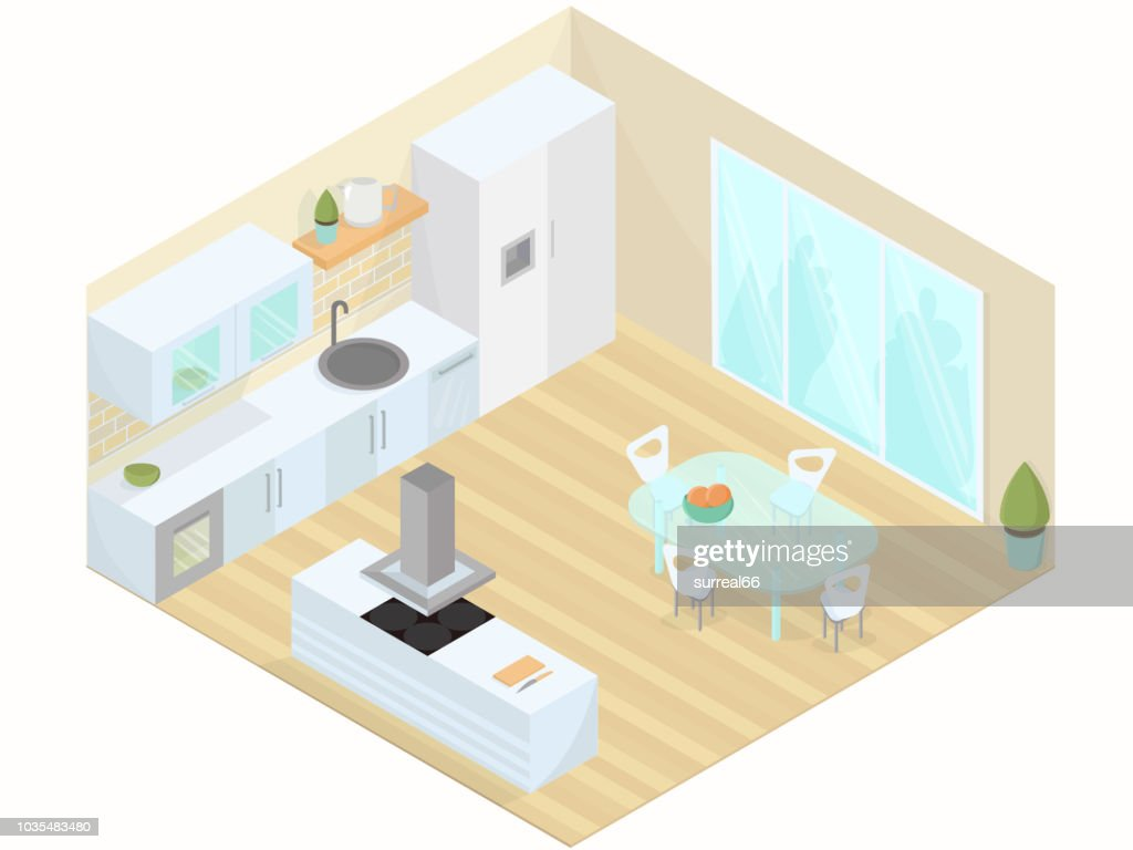 Kitchen dining room studio isometric vector illustration.