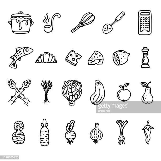 kitchen doodle of dinnerware and food - marrom stock illustrations