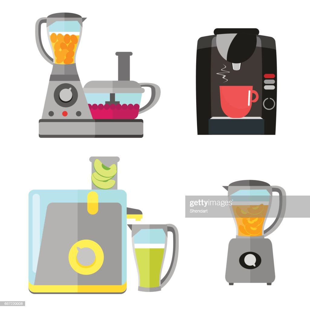 Kitchen electrical equipment set for cooking. Coffee machine, blender, juicer and food processor. Vector equipment in a flat style isolated on a white background.