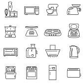 Kitchen electronics icons set.