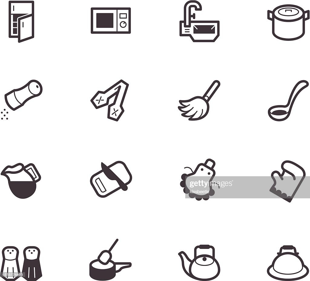 kitchen element vector black icon set on white background