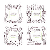 Kitchen elements frames and place for your text. Food vector background