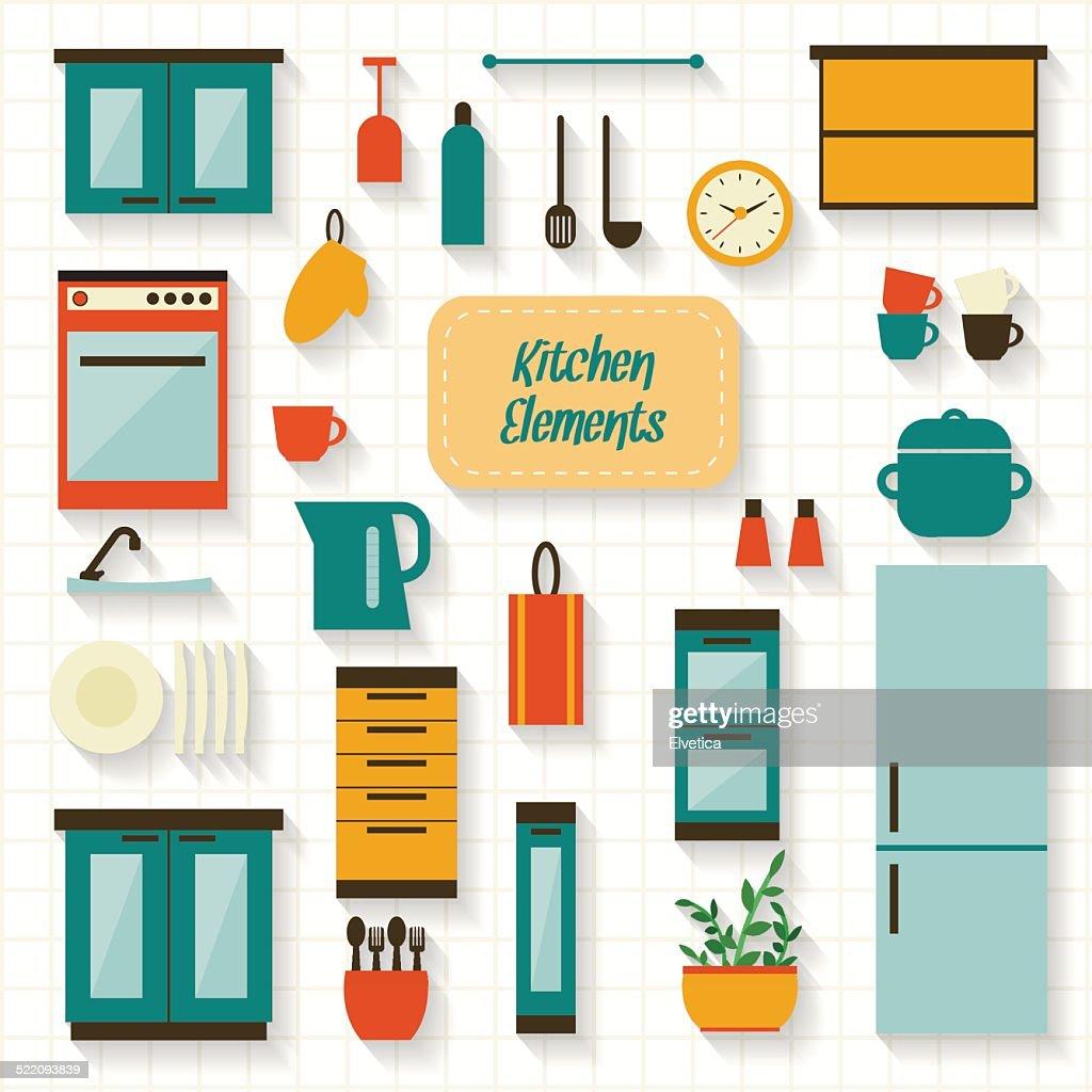 Kitchen elements icon set