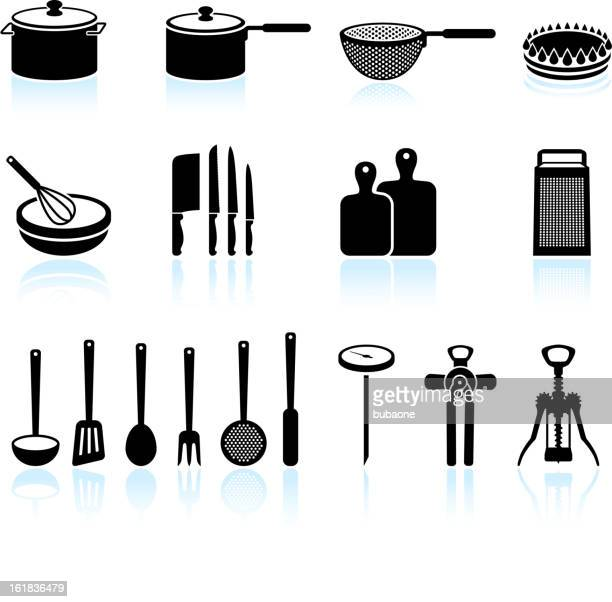 Kitchen Equipment black and white royalty free vector art