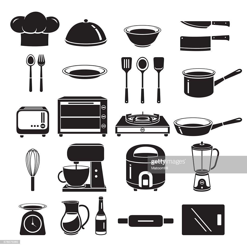 Kitchen Equipment Icons Set, Monochrome