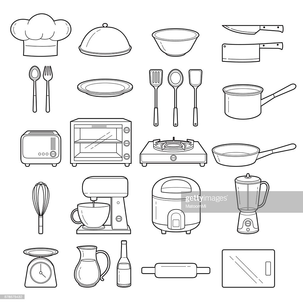 Kitchen Equipment Outline Icons Set