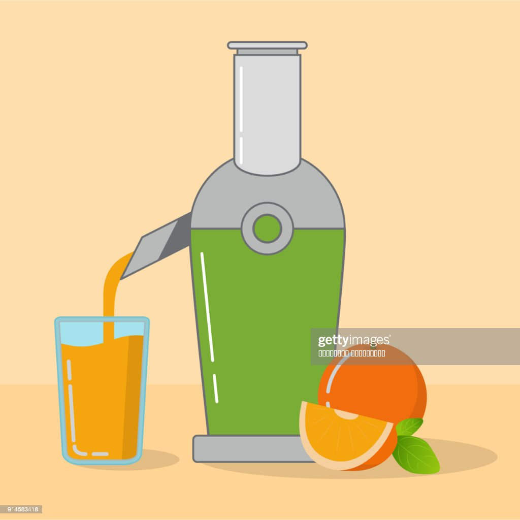 Kitchen equipment.Household appliances.Juice extractor.Citrus freshly squeezed orange juice direct extraction glass.Ripe fruit segment