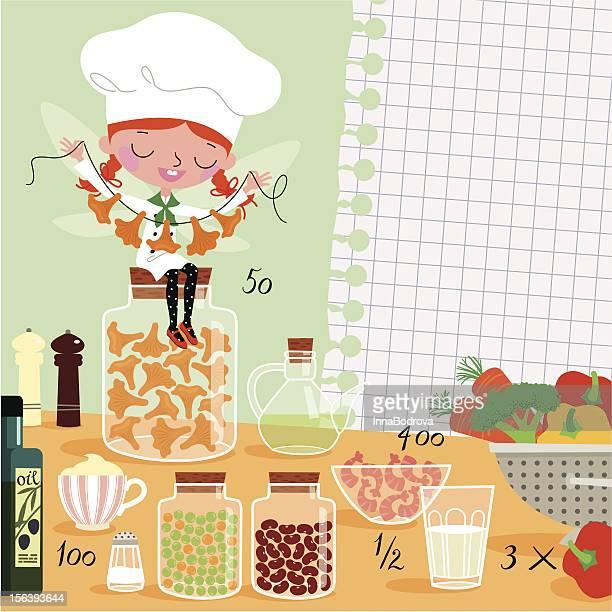 kitchen fairy - shopping list stock illustrations, clip art, cartoons, & icons