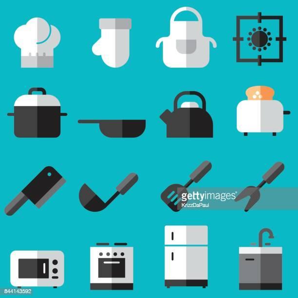 kitchen flat icons - stew pot stock illustrations