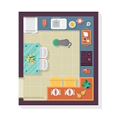 Kitchen floor plan top view. Furniture set for interior design.