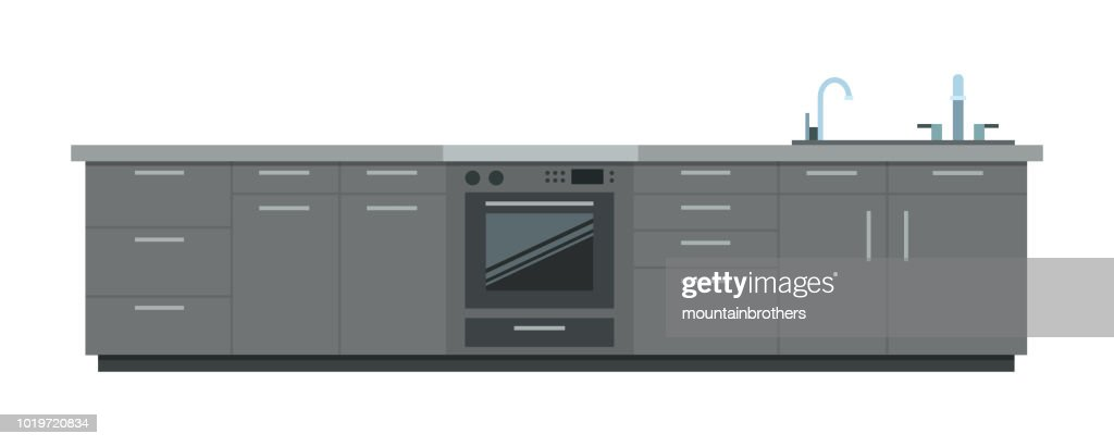 Kitchen furniture vector flat isolated