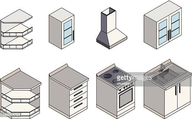 kitchen furnitures isometric - air duct stock illustrations
