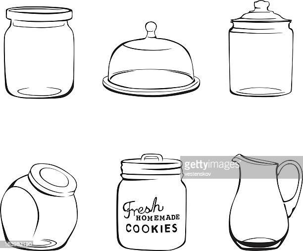Kitchen glassware jars, pitcher and glass dome
