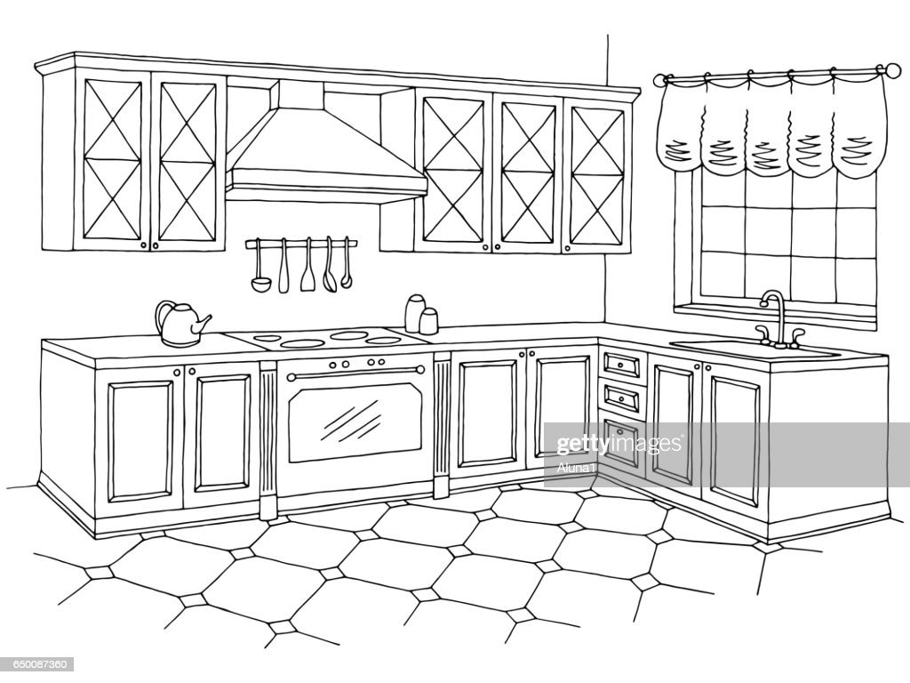 Kitchen graphic room interior black white sketch illustration vector