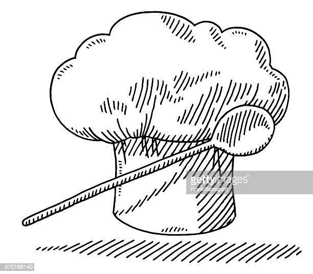 ilustrações, clipart, desenhos animados e ícones de chapéu de cozinha culinária colher desenho do símbolo - chapéu de cozinheiro