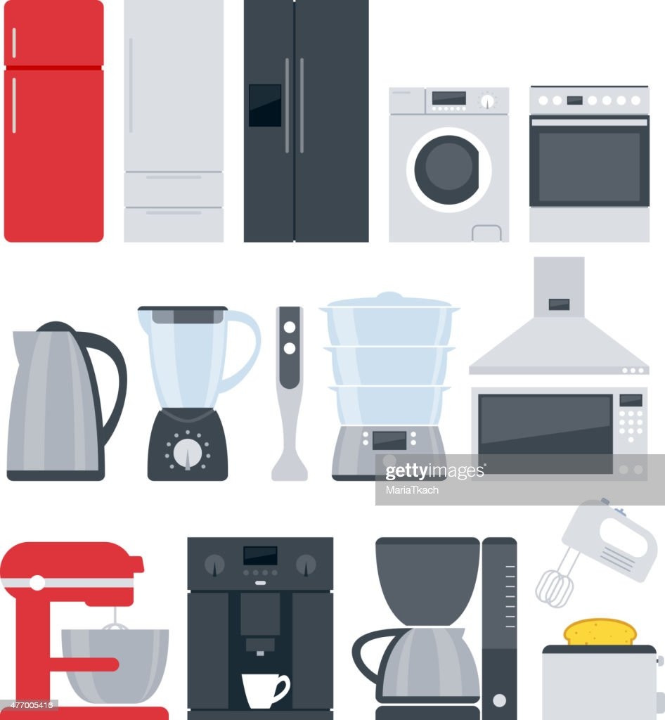 Kitchen home appliances icons set. Flat style