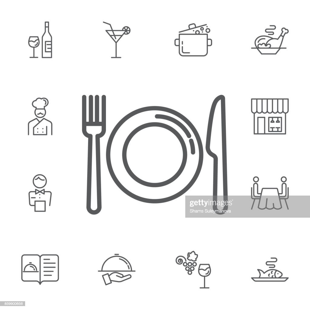 kitchen icon of dish, fork and knife. Simple Set of restaurant Vector Line Icons.