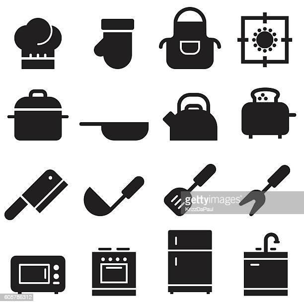 kitchen icons [black edition] - stew pot stock illustrations