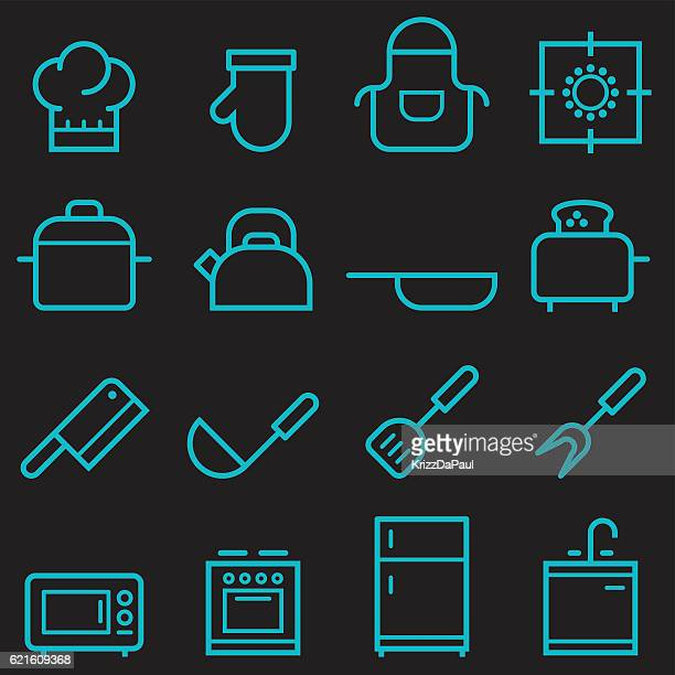kitchen icons [glow in the dark] - stew pot stock illustrations