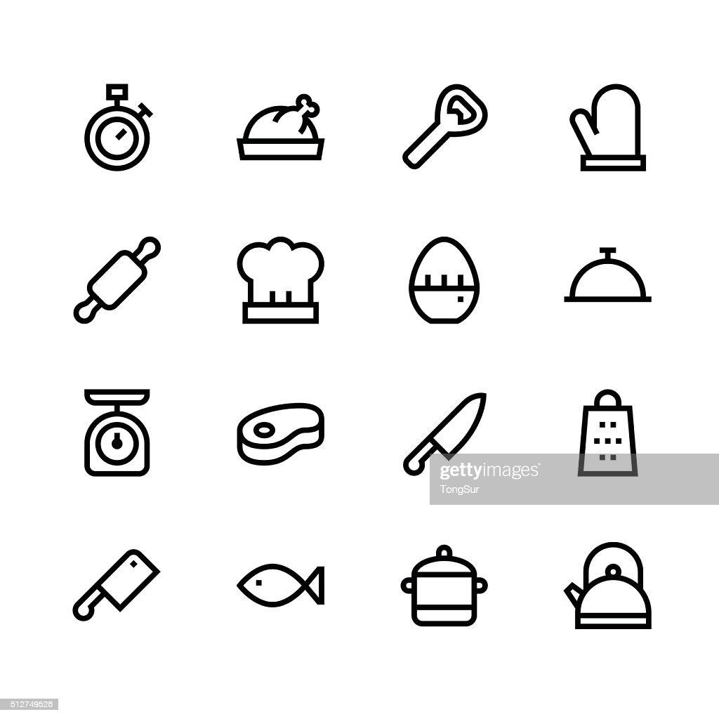 Kitchen icons - line - black series