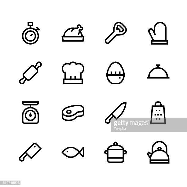 Kitchen icons - line - black series