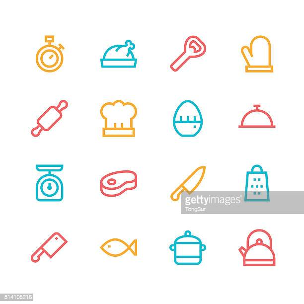 Kitchen icons - line - color series