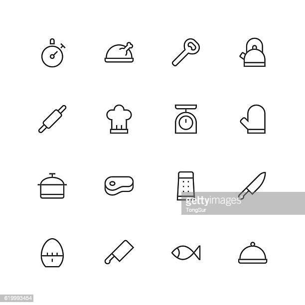 ilustraciones, imágenes clip art, dibujos animados e iconos de stock de kitchen icons - unique - line series - chef