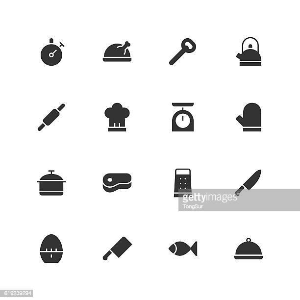 ilustraciones, imágenes clip art, dibujos animados e iconos de stock de kitchen icons - unique - gorro de chef