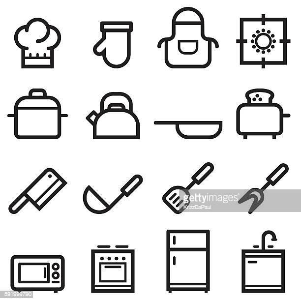 kitchen icons - stew pot stock illustrations