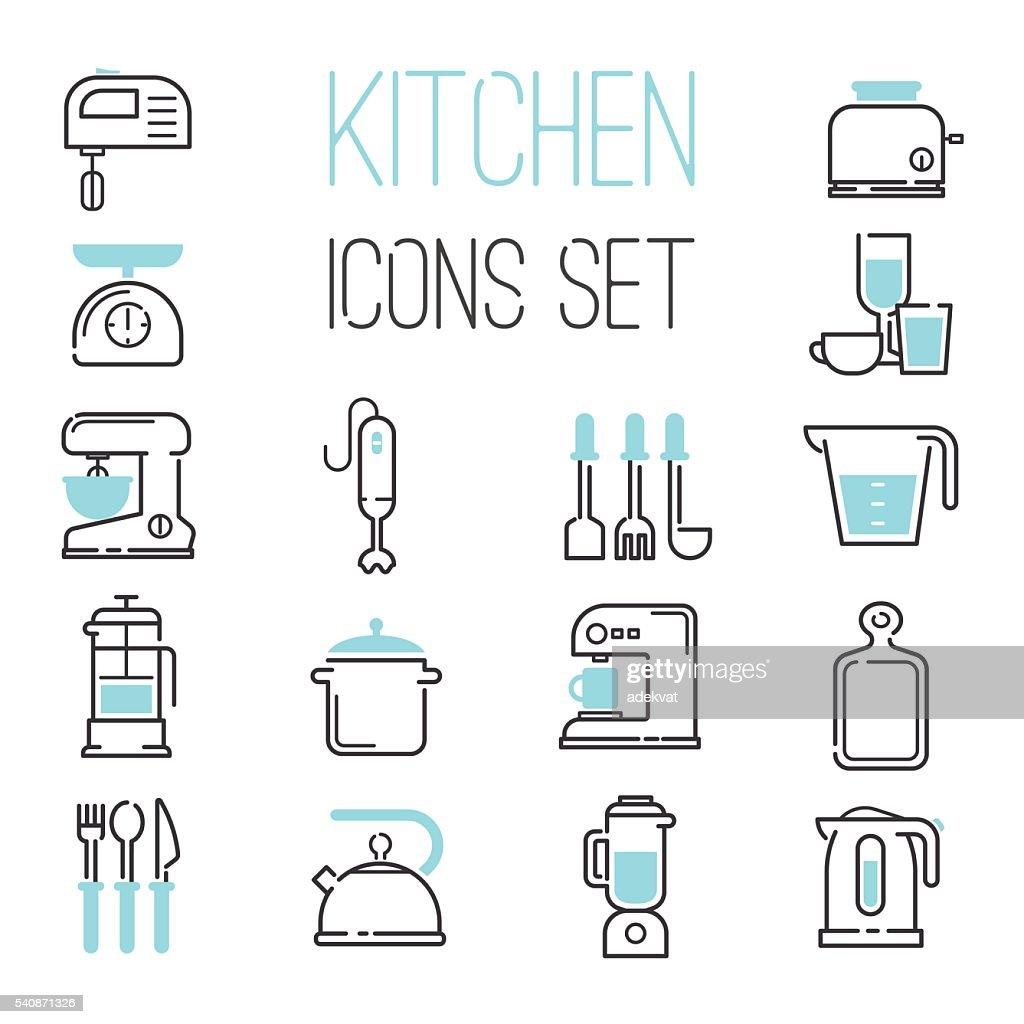 Kitchen icons vector illustration.