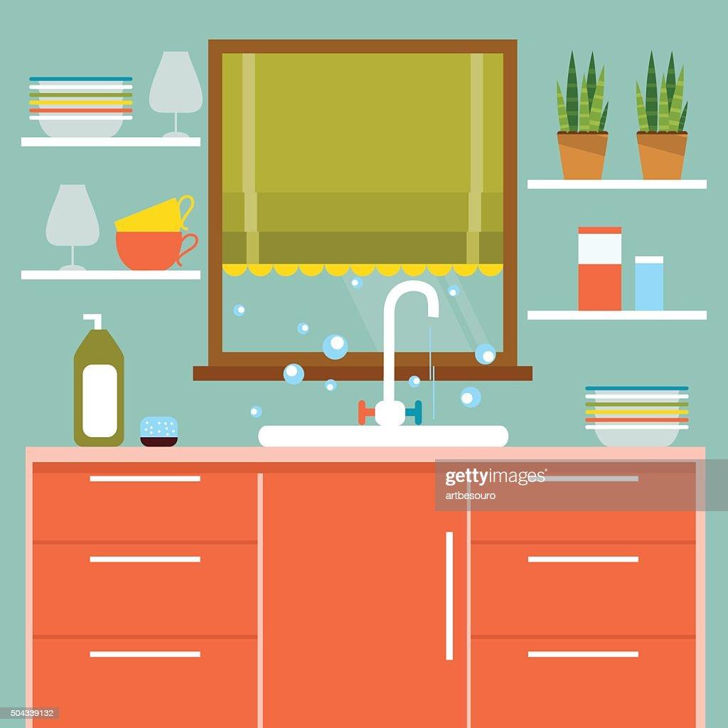 Kitchen interier. Vector Illustration