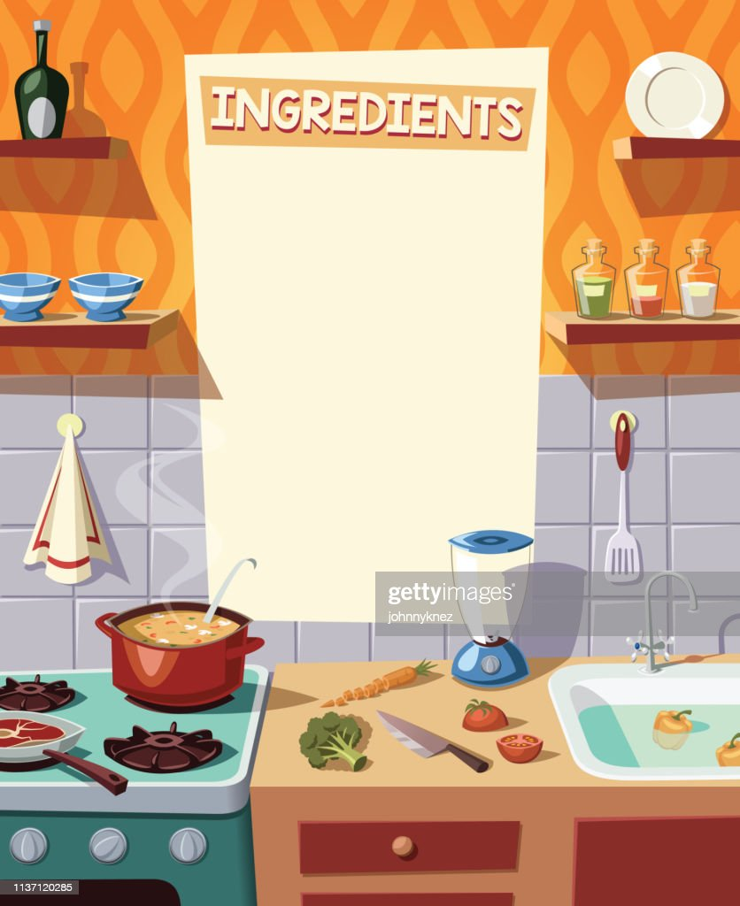Kitchen  interior and cooking ingredients vector illustration