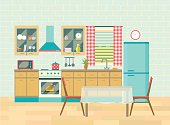 Kitchen interior and dining room poster vector flat illustration