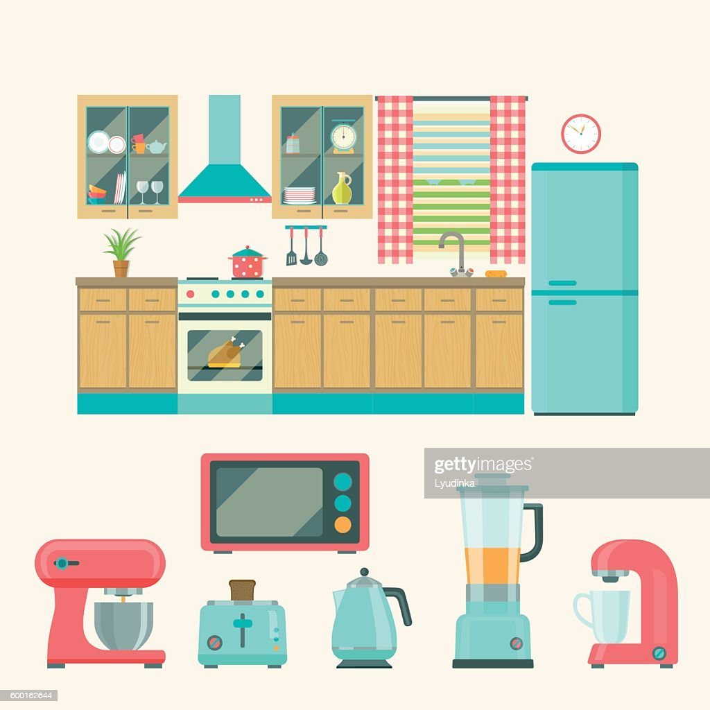Kitchen interior design.Set of elements. Vector flat illustration