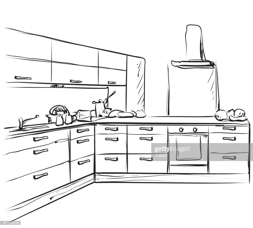 Kitchen interior drawing, furniture sketch