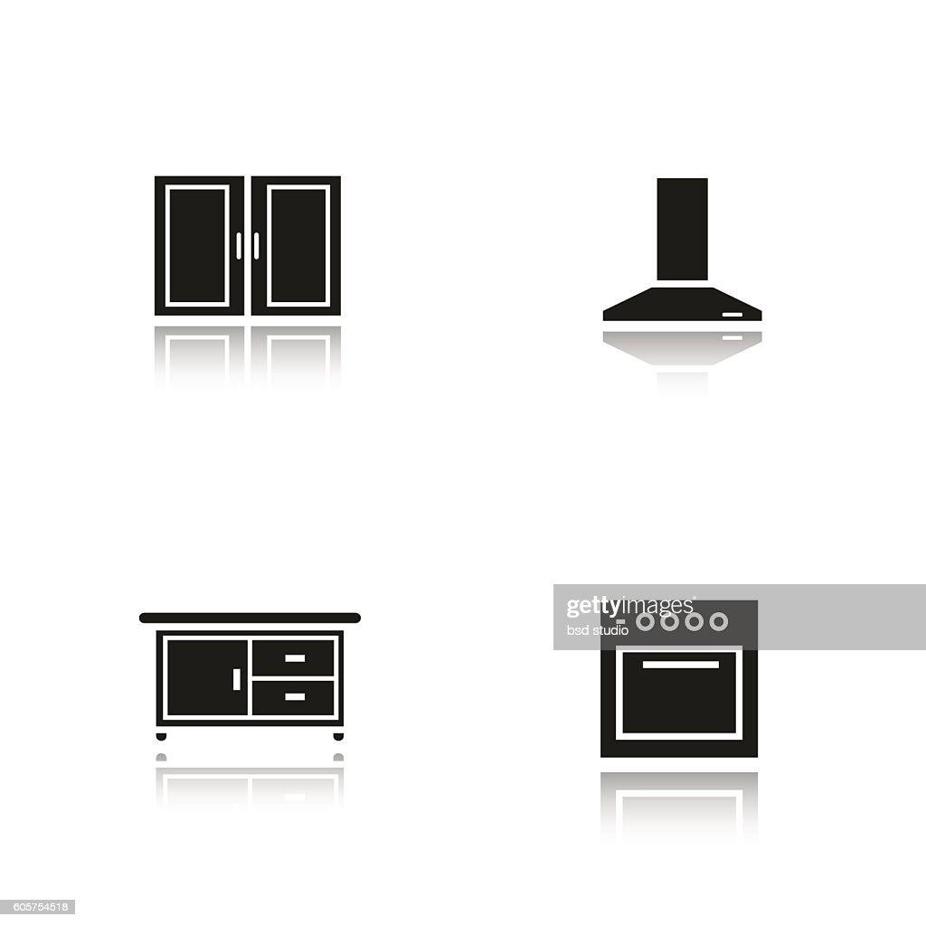 Kitchen interior icons