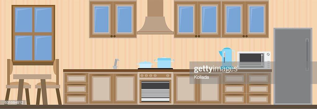 Kitchen Interior Vector Illustration Vector Art Getty Images
