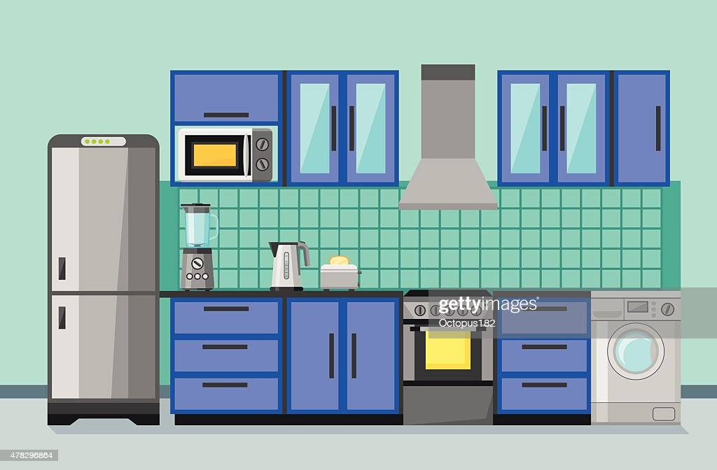 Kitchen interior with appliances and furniture . Flat style.