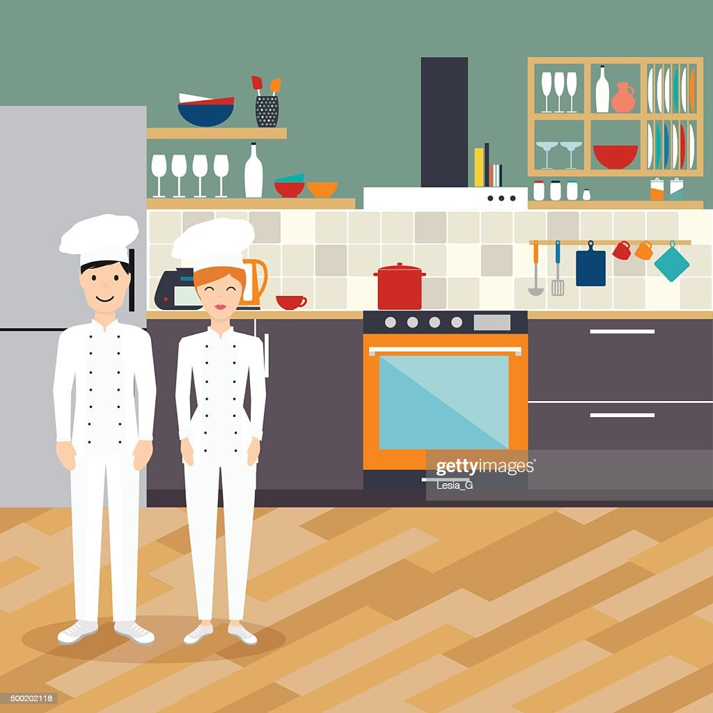 Kitchen interior with chef in flat design. Vector illustration.