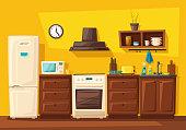 Kitchen interior with furniture. Cartoon vector illustration