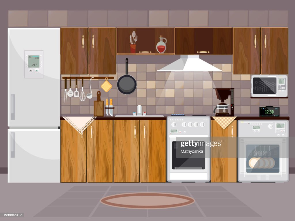Kitchen interior with furniture. Refrigerator, microwave, stove