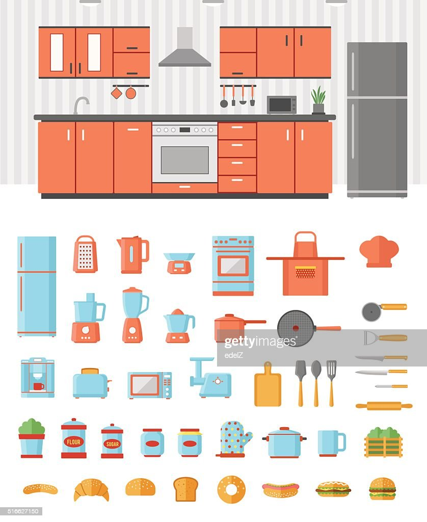 Kitchen interior with kitchen furniture, appliances, utensils and electronics