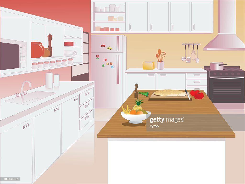 Kitchen Interior with Microwave, Sink and Oven