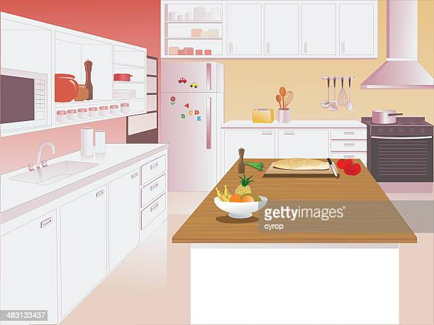kitchen interior with microwave, sink and oven - cabinet stock illustrations, clip art, cartoons, & icons