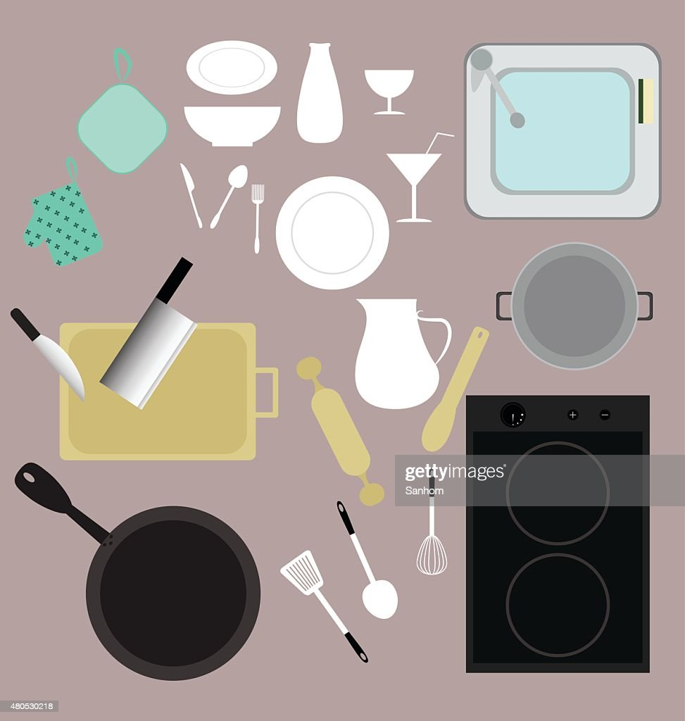 Küche Geräte, Vektor-set Küchenbedarf : Vektorgrafik