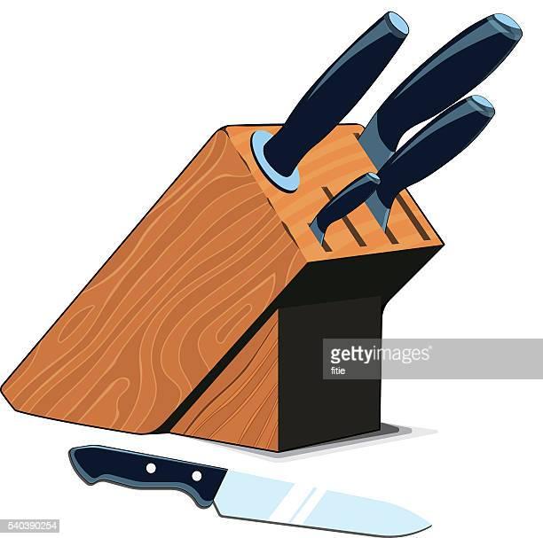 kitchen knives set - block shape stock illustrations