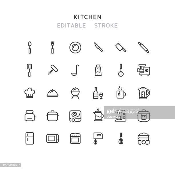 キッチンラインアイコン編集可能ストローク - 台所点のイラスト素材/クリップアート素材/マンガ素材/アイコン素材