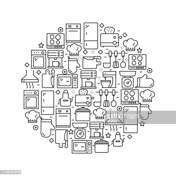 kitchen related - black and white line icons, arranged in circle - kitchenware department stock illustrations, clip art, cartoons, & icons