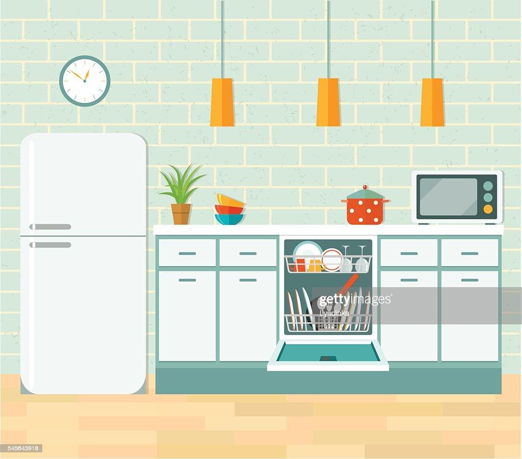 Kitchen retro interior. Vector flat illustration.